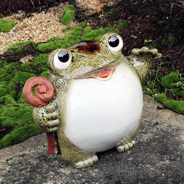 信楽焼 福招き蛙 縁起物カエル 蛙 陶器かえる カエル置物 [ka-0057]