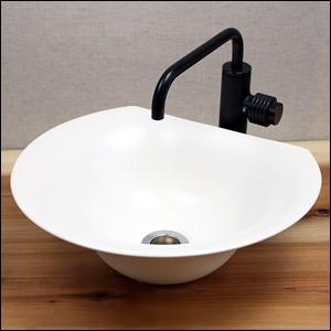 白マット半円型手洗い鉢【小型サイズ】信楽焼き手洗器!陶器の手水鉢[tr-2072]