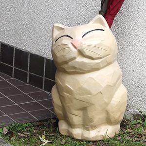 信楽焼きかさたて 白猫傘立て 陶器[kt-0215]