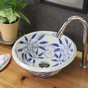 テッセン絵ソリ型手洗い鉢【小型サイズ】信楽焼き手洗器!陶器の手水鉢[tr-2075]