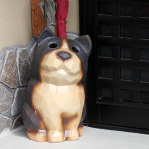 信楽焼きかさたて 黒犬傘立て 陶器[kt-0216]