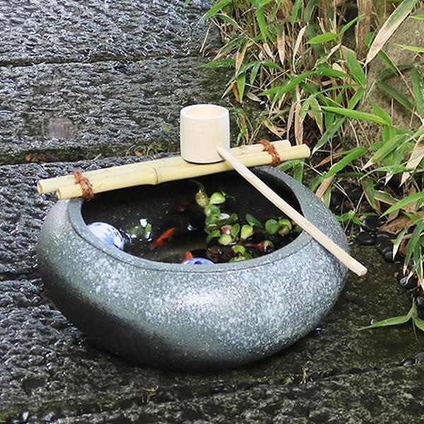 信楽焼き 窯肌つくばい(竹、柄杓付き) 蹲 [tu-0018]