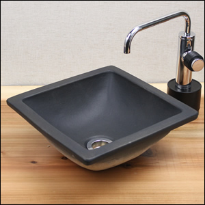 正角(黒)手洗い鉢【ミニサイズ】信楽焼き手洗器!陶器の手水鉢[tm-1049]