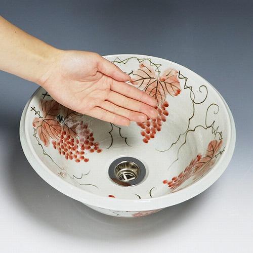 紅ぶどう絵ソリ型手洗い鉢 【小型サイズ】信楽焼き手洗器 陶器の手水鉢 [tr-2076]