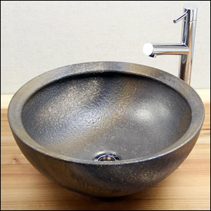 金彩手洗い鉢【中型サイズ】信楽焼き手洗器!陶器の手水鉢[tr-3030]