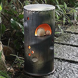 信楽焼きあかり 仲良しふくろう庭園灯 あんどん 陶器灯り[ak-0069]