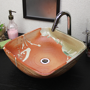 あかつき角型手洗い鉢【中型サイズ】信楽焼き手洗器!陶器の手水鉢[tr-3230]