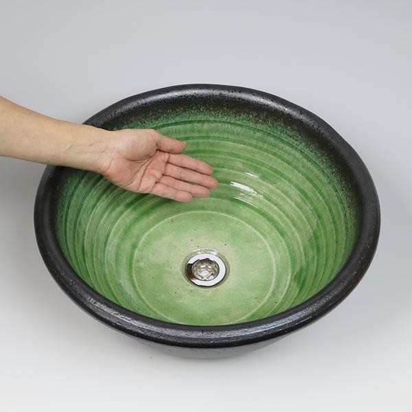 手洗い鉢【大型サイズ】 信楽焼き手洗器 陶器 洗面ボウル 緑ガラス 埋め込み据え置き兼用タイプ [tr-4119]