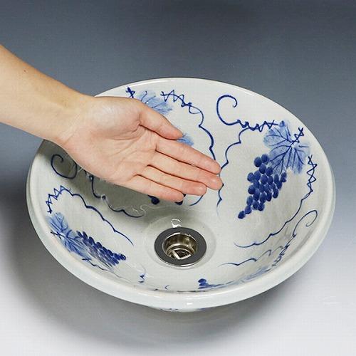 ぶどう絵ソリ型手洗い鉢 【小型サイズ】信楽焼き手洗器 陶器の手水鉢 [tr-2077]