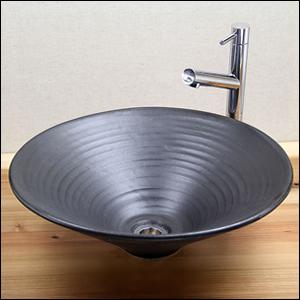 黒マットソリ型手洗い鉢【中型サイズ】信楽焼き手洗器!陶器の手水鉢[tr-3004]