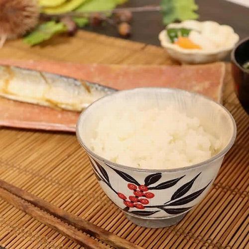 信楽焼 南天(黒)飯碗 w309-03