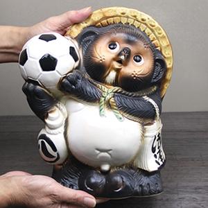 信楽焼きたぬき 8号サッカー狸 陶器タヌキ[ta-0202]