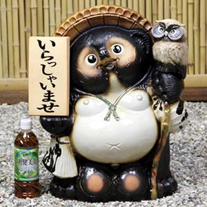 信楽焼きたぬき 17号ふくろう持ち表札狸 陶器タヌキ[ta-0171]