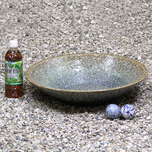 15号緑古信楽浅型水鉢 信楽焼 金魚鉢、メダカ鉢にお勧め[su-0188]