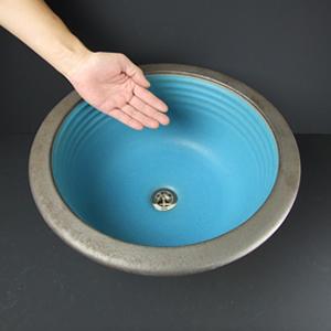 トルコブルー手洗い鉢【埋め込みタイプ】信楽焼き手洗器!陶器の手水鉢[tm-0009]