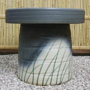 20号青銅なびき草ガーデンテーブルセット 陶器のテーブルセット 信楽焼き【5点セット】[te-0007]