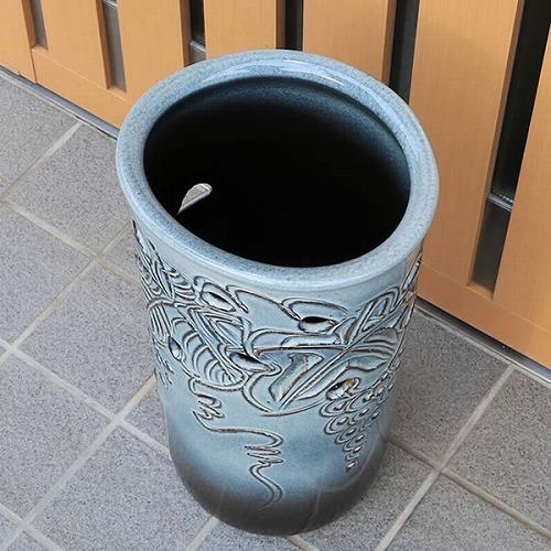 信楽焼きかさたて ぶどう透し彫り傘立て 陶器かさたて [kt-0155]
