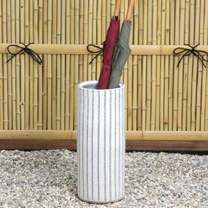 信楽焼きかさたて ブルーストライプ傘立て 陶器[kt-0227]