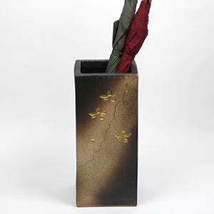 信楽焼きかさたて 金彩花彫正角傘立て 陶器[kt-0242]