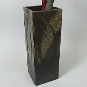信楽焼きかさたて 古陶四角傘立て 陶器[kt-0131]