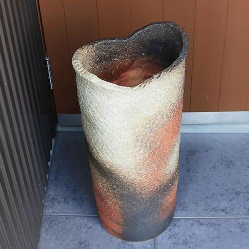 信楽焼きかさたて 荒土長火色傘立て 陶器かさたて [kt-0061]