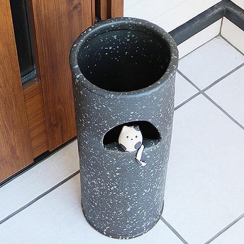 信楽焼かさたて 白黒猫長 傘立て ねこ傘立て 陶器[kt-0266]