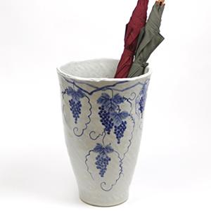 信楽焼きかさたて ぶどう絵つゆ草傘立て 陶器[kt-0294]