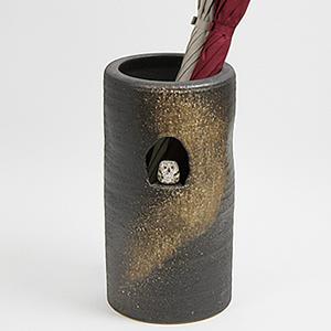 信楽焼きかさたて フクロウ付き傘立て 陶器[kt-0111]