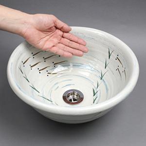 手描きめだか絵手洗い鉢【ミニサイズ】信楽焼き手洗器!陶器の手水鉢[tr-1043]