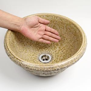 荒土手洗い鉢【小型サイズ】信楽焼き手洗器!陶器の洗面ボウル[tr-2106]