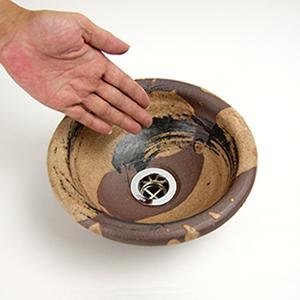 紅ハケメ手洗い鉢【ミニサイズ】信楽焼き手洗器!陶器の手水鉢[tr-1079]