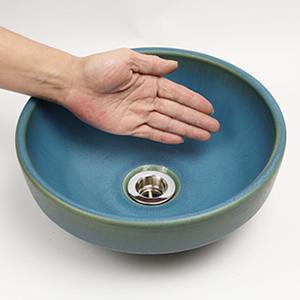孔雀色手洗い鉢【ミニサイズ】信楽焼き手洗器!陶器の手水鉢[tm-1054]