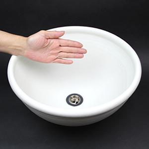 白マット深型手洗い鉢【小型サイズ】信楽焼き手洗器!陶器の手水鉢[tr-2007]