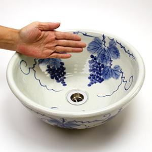 ぶどう絵手洗い鉢【小型サイズ】信楽焼き手洗器!陶器の手水鉢[tr-2022]