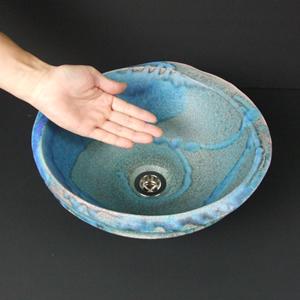 青のたわみ(深)手洗い鉢【小型サイズ】信楽焼き手洗器!陶器の手水鉢[tr-2104]