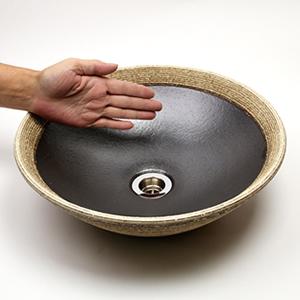 はけ目ソリ型手洗い鉢【小型サイズ】信楽焼き手洗器!陶器の手水鉢[tr-2070]