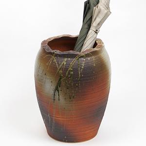 信楽焼きかさたて 火色流しツボ型傘立て 陶器[kt-0274]