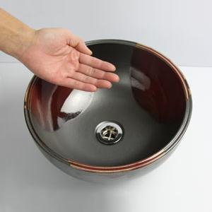赤流しボール型手洗い鉢【小型サイズ】信楽焼き手洗器!陶器の手水鉢[tr-2116]