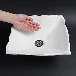 白マット角型手洗い鉢【小型サイズ】信楽焼き手洗器!陶器の手水鉢[tr-2161]