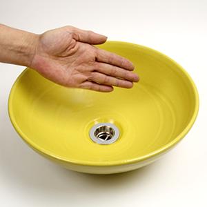 黄色(小型)手洗い鉢【小型サイズ】信楽焼き手洗器!陶器の手水鉢[tr-2178]