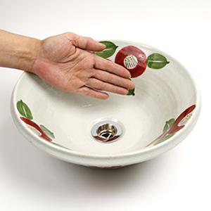椿絵ソリ型手洗い鉢【小型サイズ】信楽焼き手洗器!陶器の手水鉢[tr-2184]
