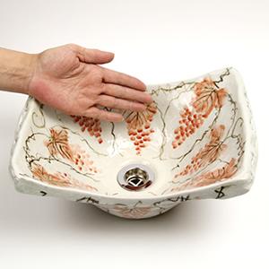 紅ぶどう角型手洗い鉢【小型サイズ】信楽焼き手洗器!陶器の手水鉢[tr-2185]