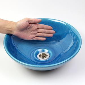 ブルービードロ手洗い鉢【小型サイズ】信楽焼き手洗器!陶器の手水鉢[tr-2189]