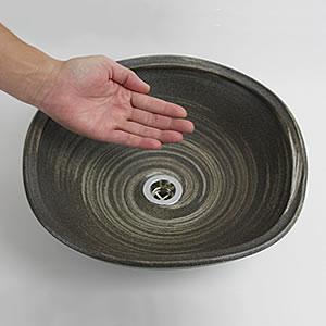 いぶし白ハケメ手洗い鉢【小型サイズ】信楽焼き手洗器!陶器の手水鉢[tr-2191]