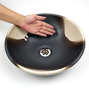 白黒ぼかし手洗い鉢【小型サイズ】信楽焼き手洗器!陶器の手水鉢[tr-2204]