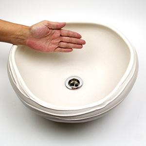 白マットたわみ手洗い鉢【小型サイズ】信楽焼き手洗器!陶器の手水鉢[tr-2211]