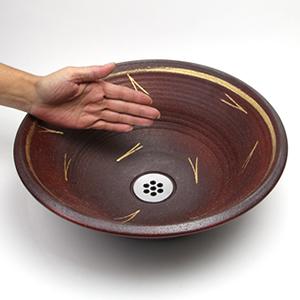 金の舞手洗い鉢【小型サイズ】信楽焼き手洗器!陶器の手水鉢[tr-2014]