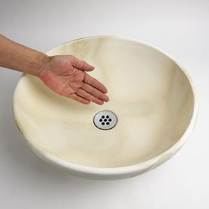 白ぼかし手洗い鉢【中型サイズ】信楽焼き手洗器!陶器の手水鉢[tr-3175]