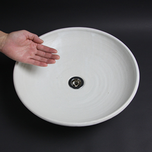 白マット(平型)手洗い鉢【中型サイズ】信楽焼き手洗器!陶器の手水鉢[tr-3008]