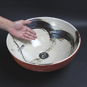 鉄ハケメ暁手洗い鉢【中型サイズ】信楽焼き手洗器!陶器の手水鉢[tr-3133]